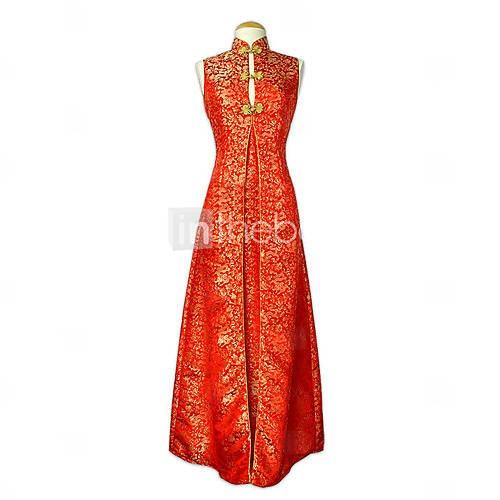 mandarijn kraag mouwloze vloer-lengte brokaat cheongsam / qipao / chinese jurk (hgqp068) - EUR € 115.49