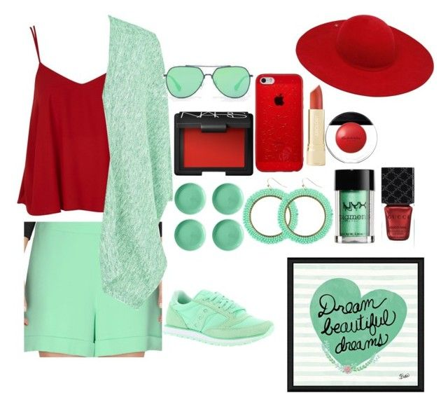 """Mint and red😍😍😍"" by xilahax ❤ liked on Polyvore featuring Topshop, Elizabeth Arden, NARS Cosmetics, Emanuel Ungaro, Fenn Wright Manson, Gucci, NYX, Home Essentials, CHARLES & KEITH and Green Leaf Art"