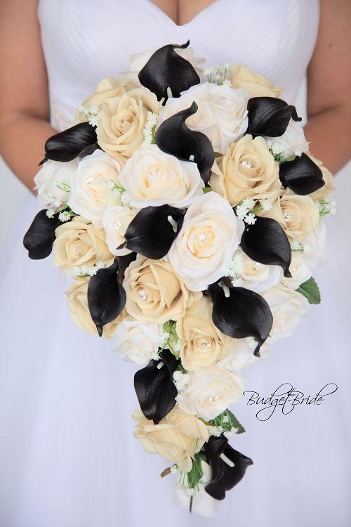 Champagne And Black Davids Bridal Wedding Flower In Cascading Teardrop Bouquet