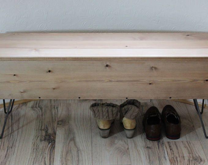 Banco de almacenamiento de madera rústico / Industrial con patas de Metal de la horquilla