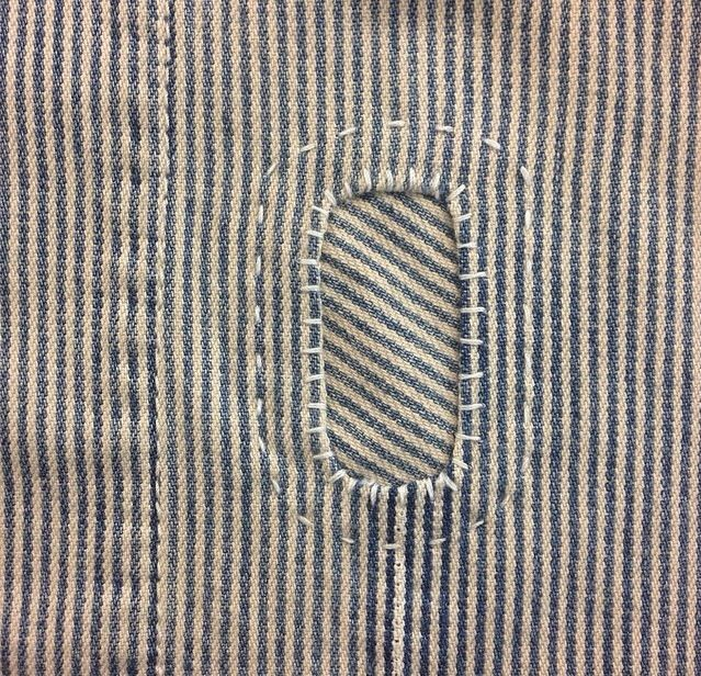 Sewing Mending: Alternating stripes by Darned and Dusted.