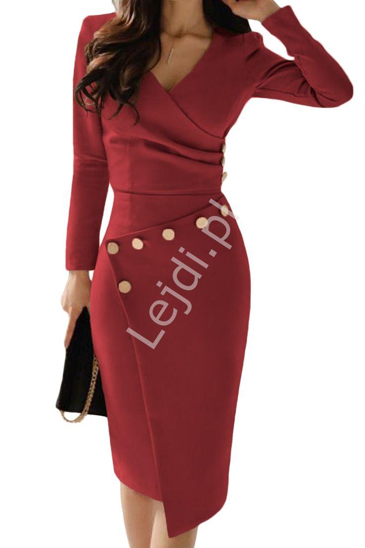 Dopasowana Sukienka Z Kopertowym Dekoltem Zdobiona Guziczkami Czerwone Wino 942 Work Dresses For Women Long Sleeve Bodycon Midi Dress Dresses For Work