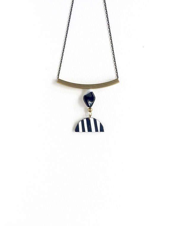 Minimalist Necklace  Geometric Long Necklace  Half Moon