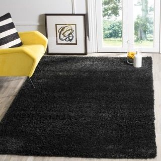 Safavieh California Cozy Solid Black Shag Rug (4' Square) - 16106892 - Overstock - Great Deals on Safavieh Round/Oval/Square - Mobile