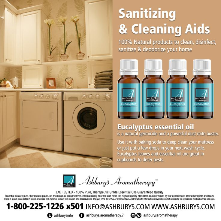Sanitizing & Cleaning Aids 100% Natural products to clean, disinfect, sanitize & deodorize your home Eucalyptus essential oil is a natural germicide and a powerful dust mite buster. Use it with baking soda to deep clean your mattress or just put a few drops in your next wash cycle. Eucalyptus leaves and essential oil are great in cupboards to deter pests. Visit https://www.ashburys.com/ #ashburysaromatherapy