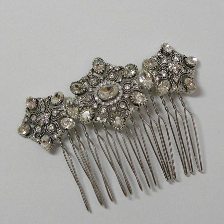Art Deco Inspired Antique Silver Crystal by AtelierLauraJayne, $75.00