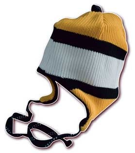 Warm winter hats made of hockey socks!