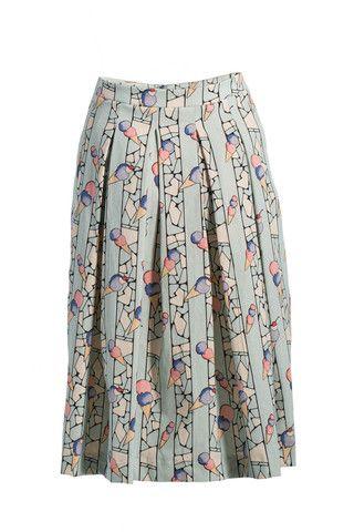 Soft Pleat Skirt - Print