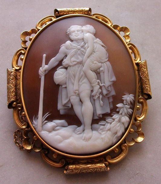 RAREST Museum Quality Victorian Cameo Brooch of St Christopher CA 1850 Layaway