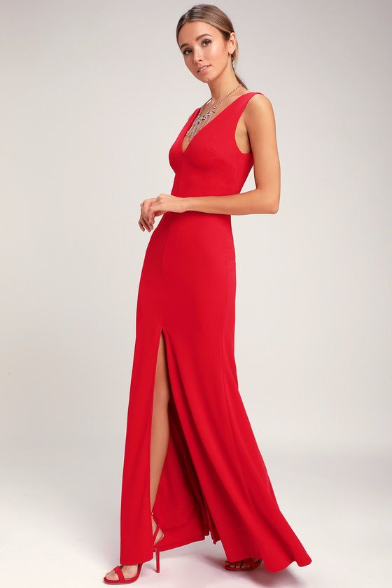2b4f28e2e93 Twirl your way through the evening in the Lulus Waltz Happening Red Sleeveless  Maxi Dress! Medium-weight stretch knit forms a sleeveless bodice