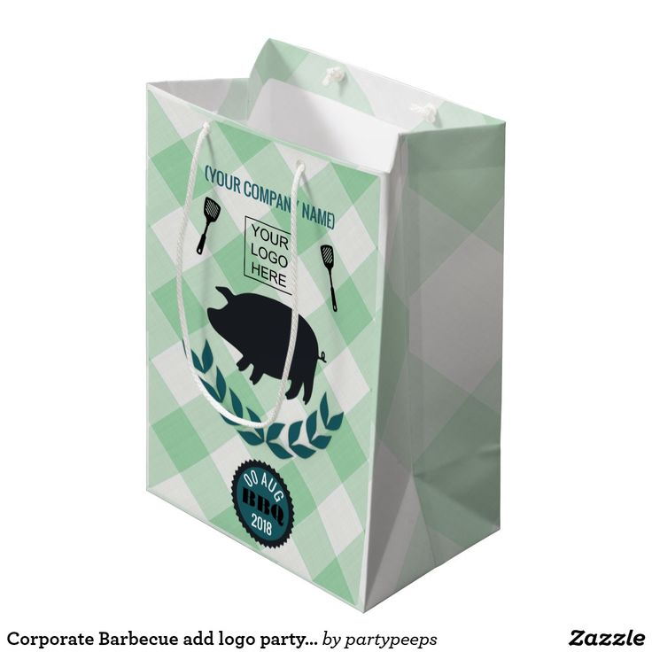Corporate Barbecue add logo party favor Medium Gift Bag
