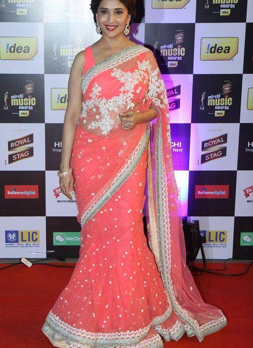 Madhuri Dixit pink Net Party Wear Saree