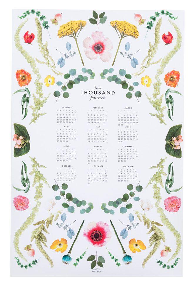 Scandinavian florals  2014 Calendar by The House that Lars Built