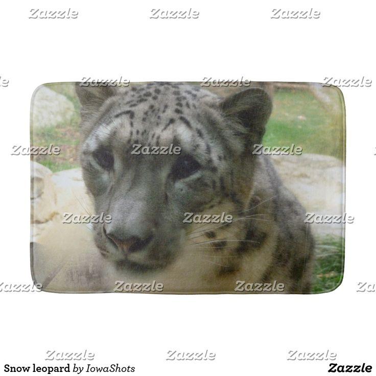 Snow leopard bathroom mat