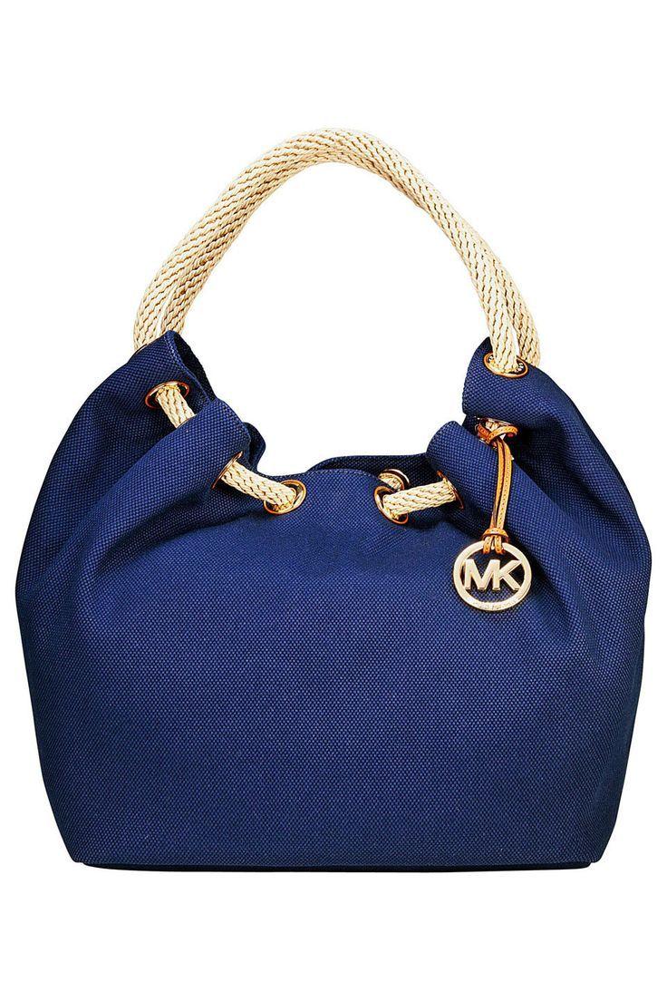 8ed0189cfdddf5 ... Michael Kors Beige Brown MK Logo Jacquard Leather Tote Purse ...