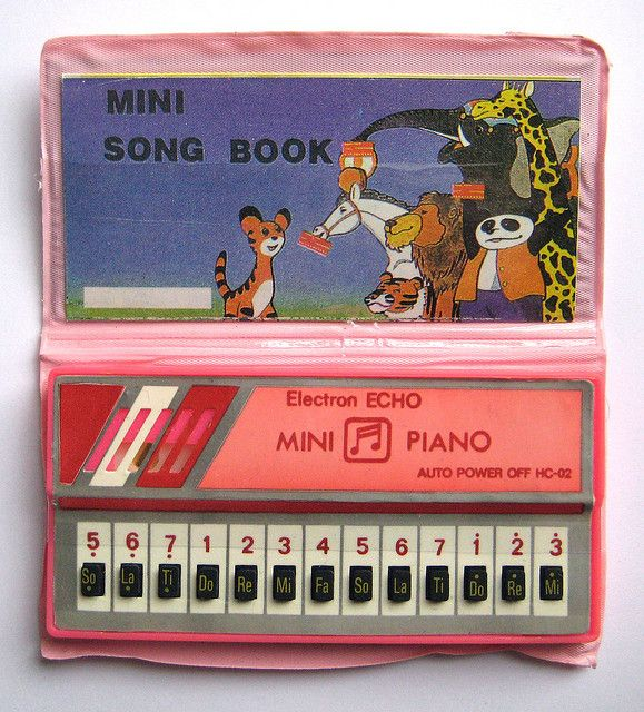 mini piano-- I totally had one of these!!!  I can still hear its out-of-tune music in my head!
