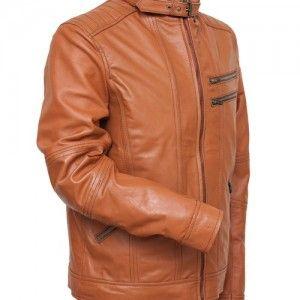 Mens tan biker leather jacket in UK