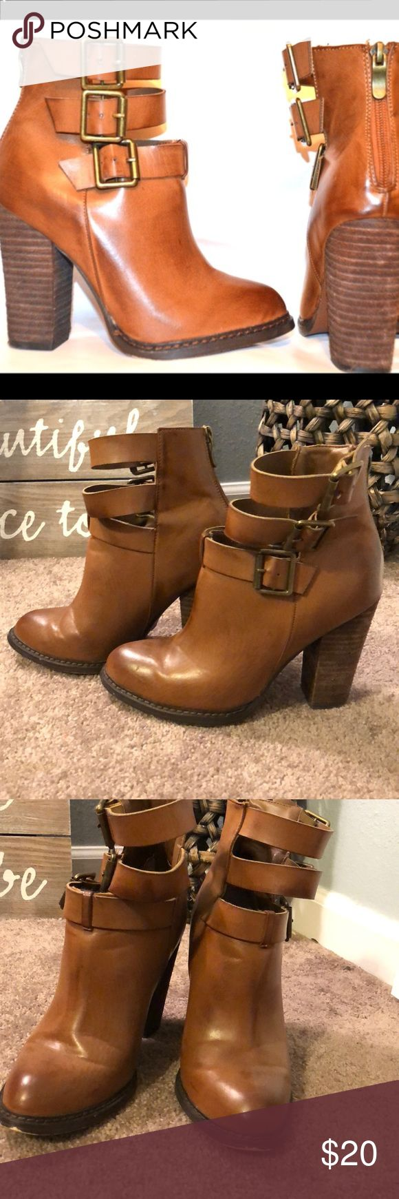 Chinese laundry gimme gimme boot Brown boots with the buckle straps. Chunky heel pretty comfortable. Looks super cute with skinny jeans. Worn a few times still in good condition. A little mark near toes and of course worn on bottoms as shown in pictures. Chinese Laundry Shoes Ankle Boots & Booties