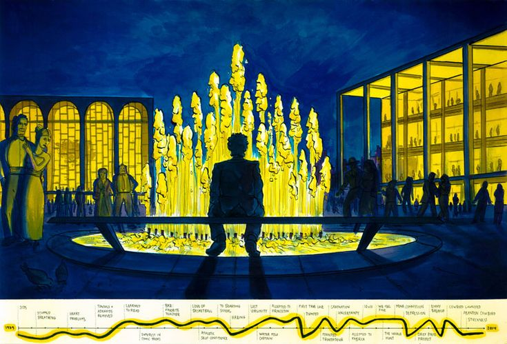 Jonathan Harris :: Getting Stuck – at New York's Lincoln Center fountain, with an approximate timeline of my life.