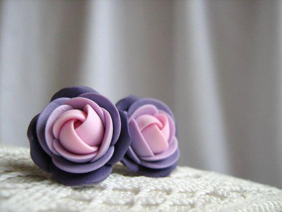 Light pink, violet rose flower polymer clay stud earring