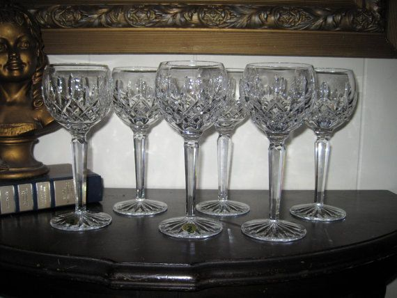Waterford Crystal Lismore Wine Hocks Set of 6, Crystal Hock Glasses, Vintage Waterford Wine Glasses, Ireland