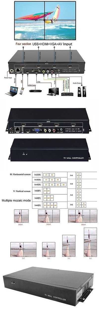 Video Processors and Switchers: 4 Channel Hdmi Vga Av Usb Video Processor 2X2 Tv Projector Video Wall Controller -> BUY IT NOW ONLY: $468 on eBay!