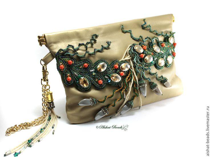 """Купить Кожаный клатч с вышивкой бисером """"Natural"""" - сумка женская, клатч кожаный, клатч с вышивкой"""