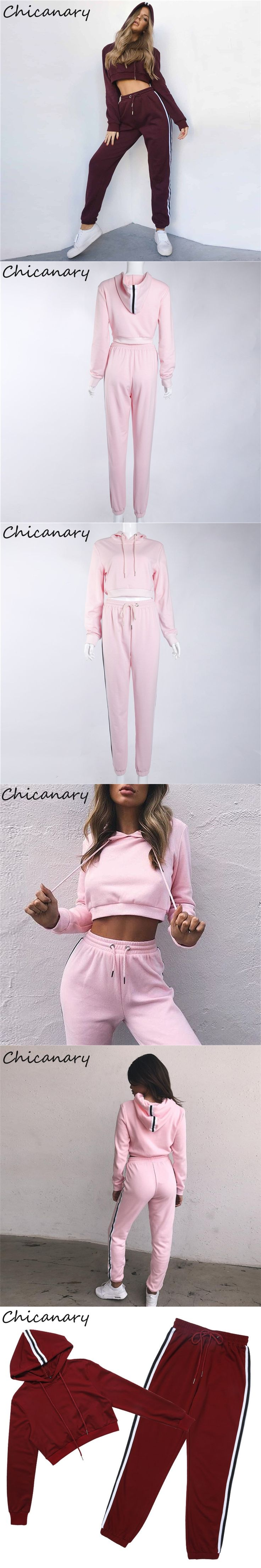 Chicanary Women Fashion Casual Tracksuit Autumn Winter Long Sleeve Crop Top Pink Hoodies Suit Set Sweatshirt Strpied Pant