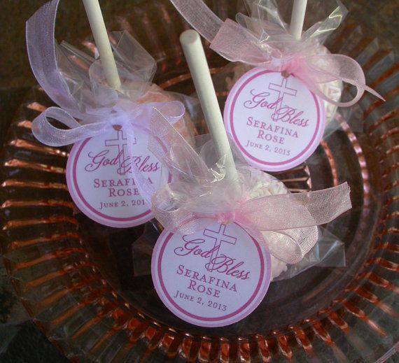 Christening God Bless Tags for cake pops, lollipops and cookie favors - 1.5 inch custom personalized tags