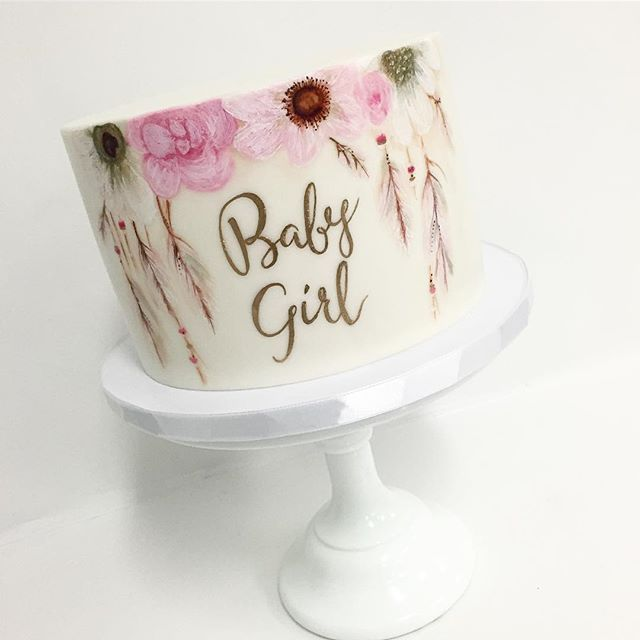 Baby Girl Hand Painted Flowers & Feathers Cake ♡♡♡