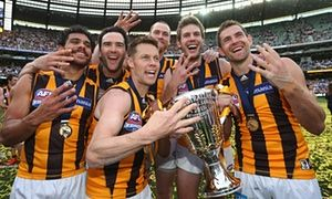 Norm Smith Medal winner Cyril Rioli, Jordan Lewis, Sam Mitchell, Jarryd Roughead, Grant Birchall and Luke Hodge celebrate the Hawks' victory.