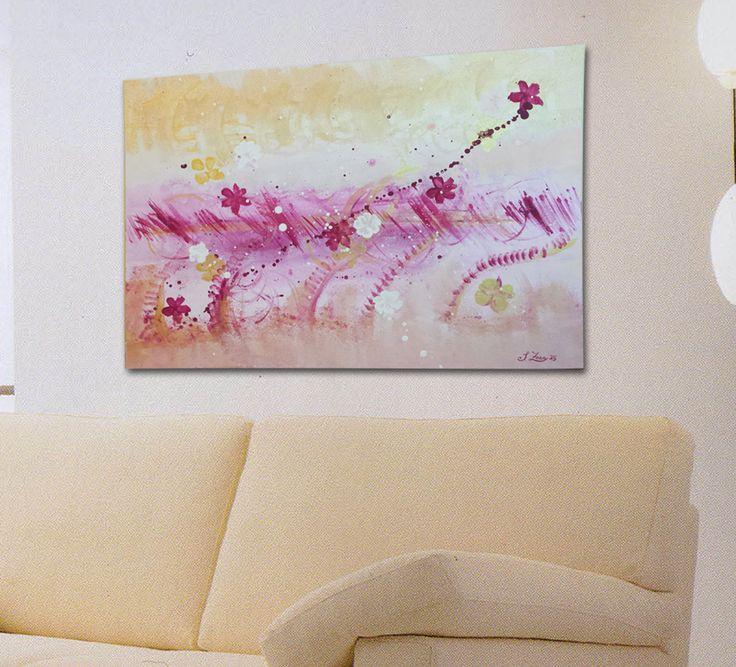 Primavera ribelle - quadro astratto dipinto a mano acrilico su tela 50x70 cm