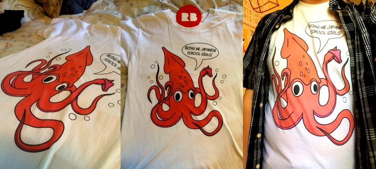 """""""Giant Squid (Bring Me Japanese School Girls)"""" t-shirt. Available on samsung galaxy, ipad, and iphone case, laptop skin, posters and prints, tote bag, coffee mug, men and women shirts, hoodies, and tank tops. anime, tentacle"""