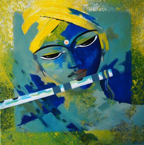 Krishna Painting Acrylic on canvas by ArtByRohini on Etsy, $349.00