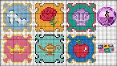 Disney Princess coasters perler bead pattern by Drayzinha