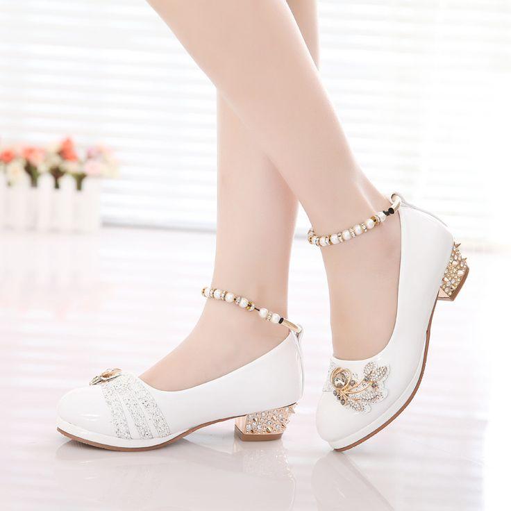 Zapatos de las niñas 2016 primavera princesa partido blanco negro formal perlas rosa de cuero de imitación de Calzado para niñas de 10 años de edad grande tamaño(China (Mainland))
