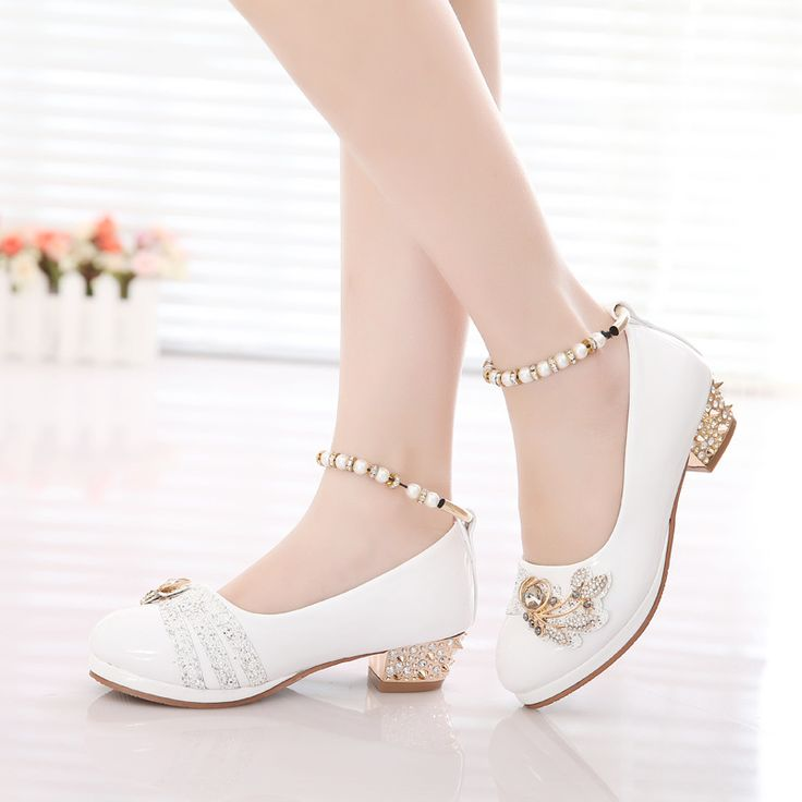 >> Click to Buy << 2016 latest fall girls shoes new girls Fashion Small High-heeled leather shoes Pearl With Diamond Princess Shoes free shipping #Affiliate