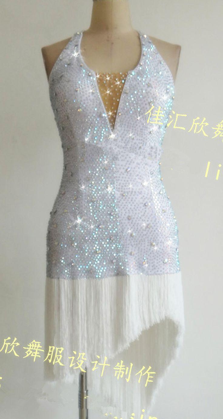 Aliexpress.com: Compre Personalizado 2016 Nova dança Latina vestido Branco franja cheia de diamantes vestidos de dança latina para as mulheres de confiança dança latina vestido branco fornecedores em DANCE WORLD
