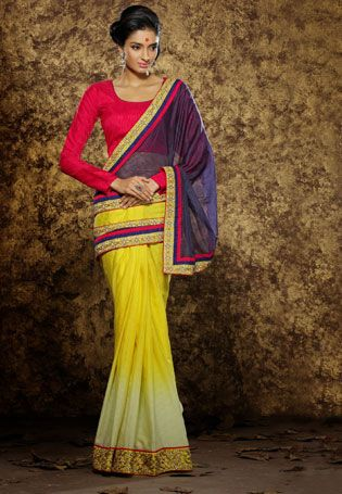 Pamper The Women In You With This Yellow color viscose Fancy saree. - Jiva fashion Shop Now @