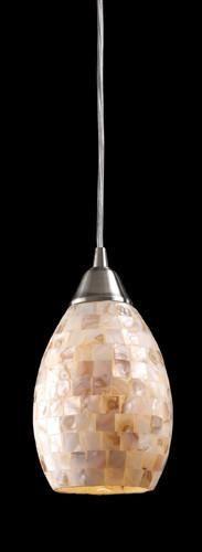 ELK Lighting 10141-1 Capri One Light Pendant In Satin Nickel