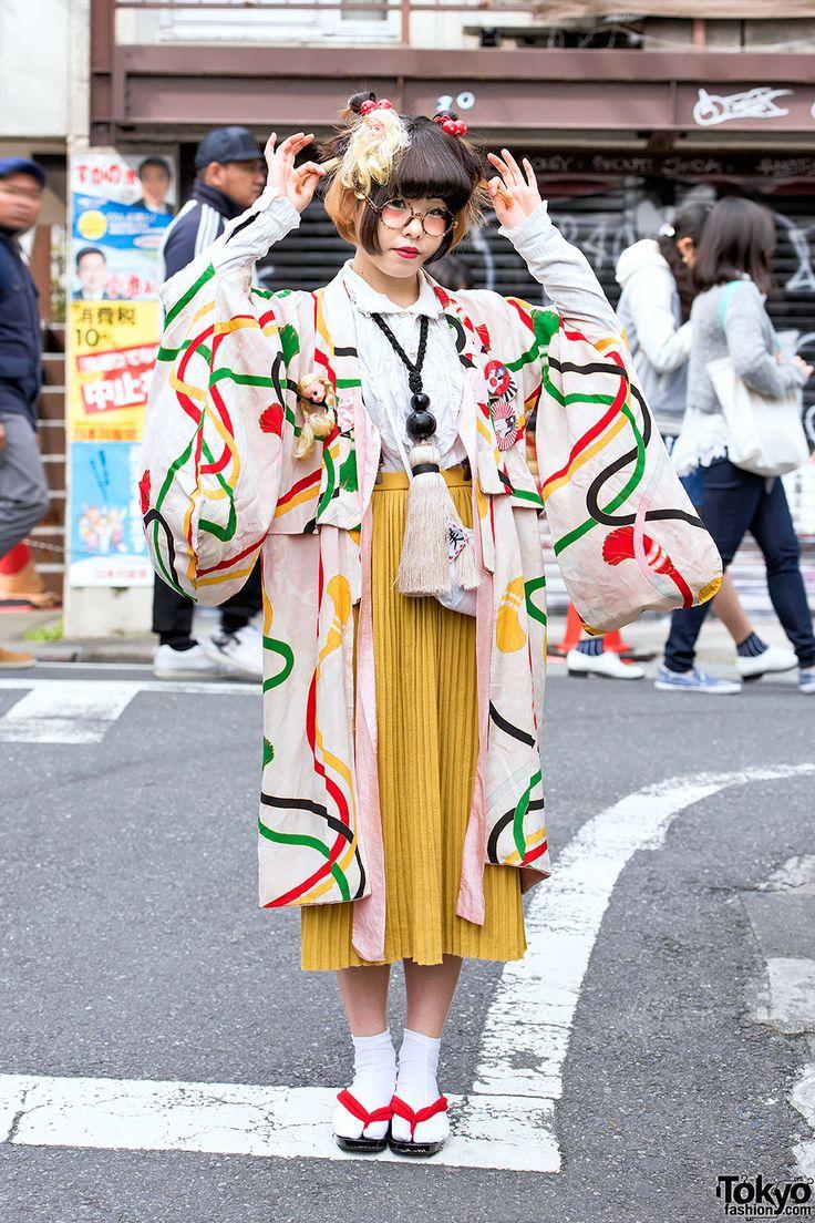 Harajuku Girl in Kimono & Tassel Necklace