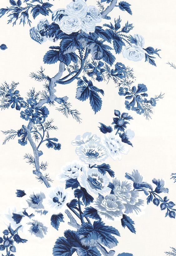 Wallcovering / Wallpaper | Pyne Hollyhock in Indigo | Schumacher: