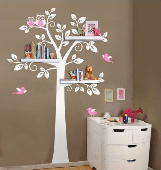children shelf tree with birds Vinyl Wall Decal owl owls leaf leaves owls mamma trees Sticker baby room sticker house Home Murals stikers on Etsy, £45.75