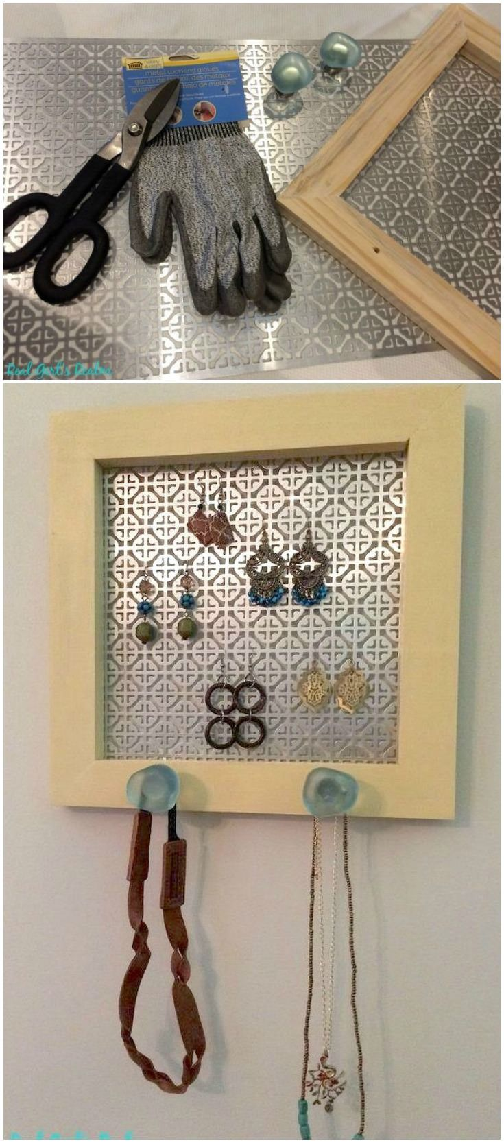 Make a pretty DIY jewelry holder for your earrings, necklaces, and bracelets. All you need is a frame, decorative knobs, and sheet metal!
