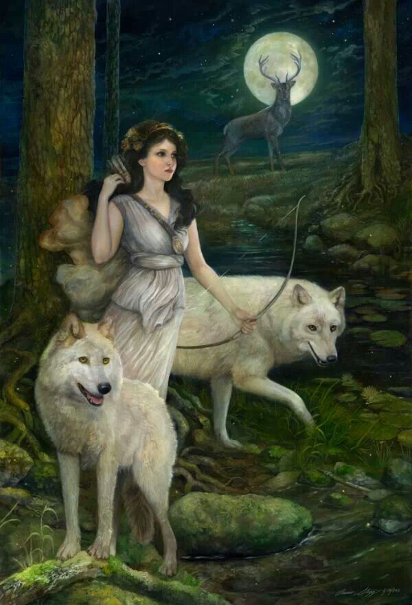Artemis/Luna/Selene/Diana/Nimune/Vivianne. Goddess of the Moon, water element, Divine Beauty and Youth, Divine Grace and Femininity, good luck, gentleness, safe travels, healing, inspiration, instinct and creativity, and the number 13. She is one goddess, by a variety of names that change from culture to culture. Associated with wolves, stags/deers, bow and arrow, leopards, silver and white. Chastity and virginity.