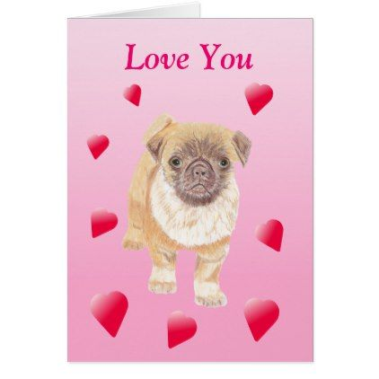 Pug Valentines Card - valentines day gifts love couple diy personalize for her for him girlfriend boyfriend