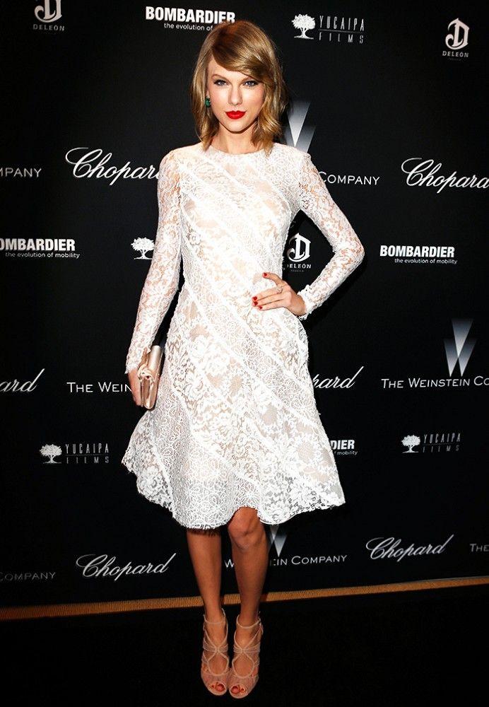 Taylor Swift white lace dress