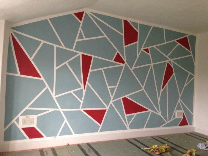 Wandgestaltung Mit Geometrischen Formen Und Bunten Farben Geometric Wall Paint Geometric Wall Wall Design