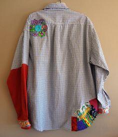 Med to Plus Size Funky Shirt / Upcycled Boyfriend by upCdooZ