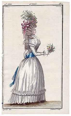 Magasin des Modes Nouvelles 1787 cahier n°28, plate n°1, Defraine, 18th Century Dress